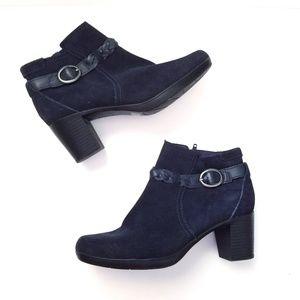 Clark's suede zip up heeled booties